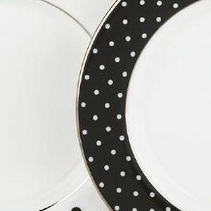 Decorative Dinnerware: Black kate spade new york LARB RD BLK 4TIDBITS