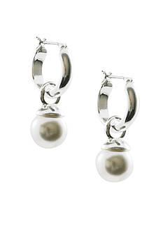 Anne Klein Silver Hoop with Pearl Drop Earrings