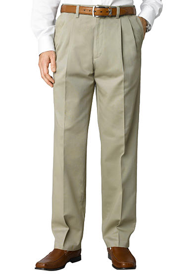 Savane® Straight-Fit Performance Chino Comfort Waist Pleated Wrinkle-Free Pants