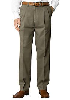 Savane Straight-Fit Performance Chino Comfort Waist Pleated Wrinkle-Free Pants