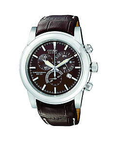 Citizen Eco-Drive Men's Stainless Steel Brown Strap Watch
