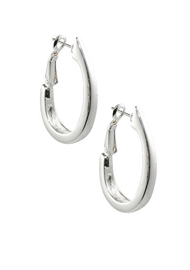Napier Basic Silver-Tone Hoop Earrings