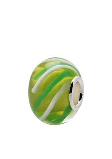 Belk Silverworks Green and White Striped Glass Originality Bead
