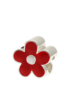 Belk Silverworks Red and White Enamel Flower Originality Bead