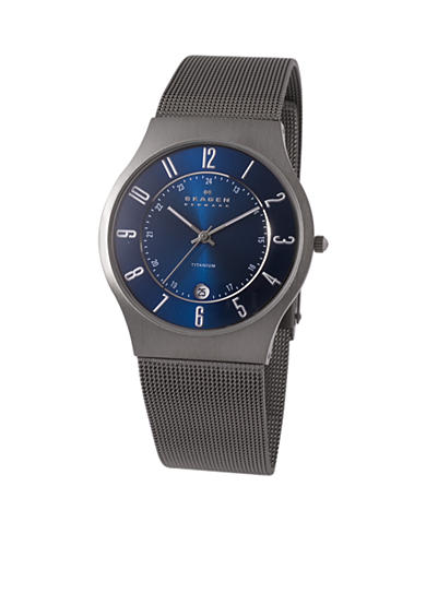 Skagen Men's Brushed Titanium Case Watch