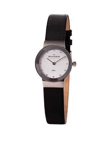 Skagen Women's Black Leather Glitz Watch