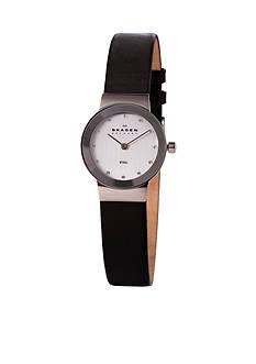 Skagen Women's Black Leather Glitz Watch