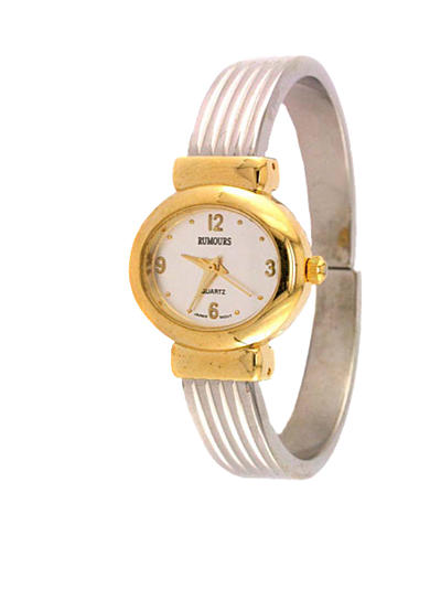 Kim Rogers® Women's Two-Tone Ridged Cuff Watch