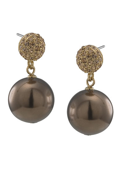 Carolee Large Gold-Tone and Brown Double Drop Earrings