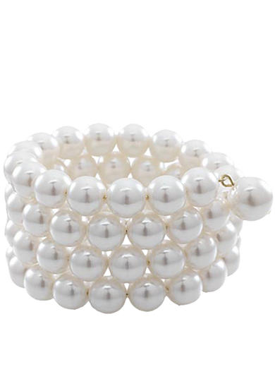 Carolee 10-mm. Simulated Pearl 4-Row Coil Bracelet