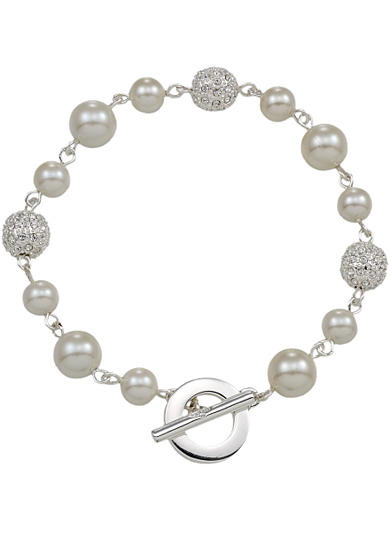 Carolee Mixed Millimeter Pearl and Pave Ball Bracelet
