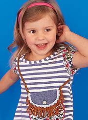 A toddler girl wearing a blue and white striped sleeveless top. Shop toddler girls.
