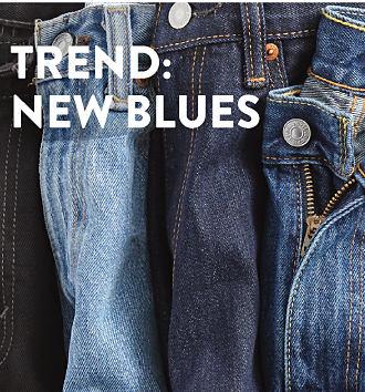 An assortment of blue jeans. Denim. Shop men