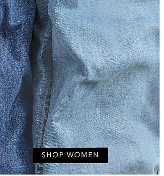 An assortment of blue jeans. Denim. Shop men. Shop women.