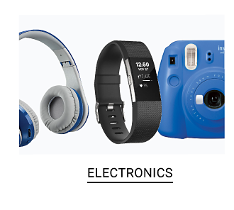 Gray headphones, a black fitness tracker & a blue digital camera. Shop electronics.
