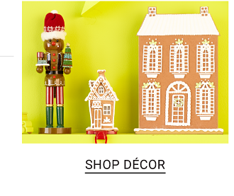 An assortment of holiday themed decor pieces. Shop decor.