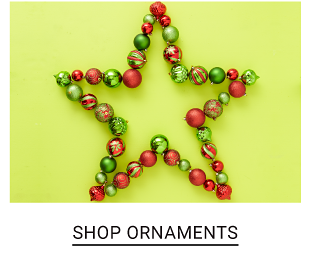 Red & green Christmas tree ornaments in the shape of a star. Shop ornaments.