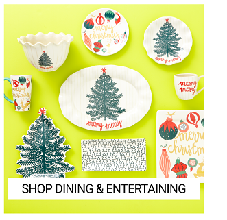 An assortment of holiday themed dishes. Shop table top.