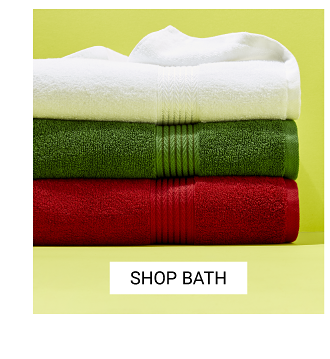 An assortment of bath towels in a variety of colors. Shop bath.