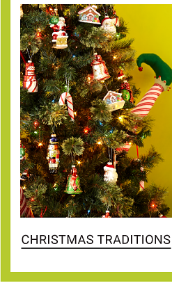 A Christmas tree decorated with traditional ornaments. Shop Christmas Traditions.