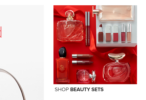 A variety of fragrances and lipstick. Shop beauty sets.