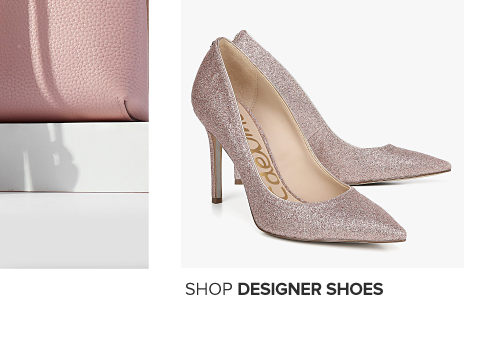 A pair of sparkly gold heels. Shop shoes.