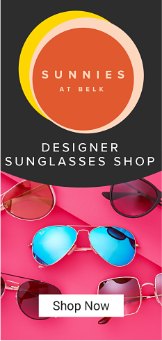 An assortment of designer sunglasses in various styles on a hot pink background. Introducing Sunnies at Belk. Designer sunglasses shop. Shop now