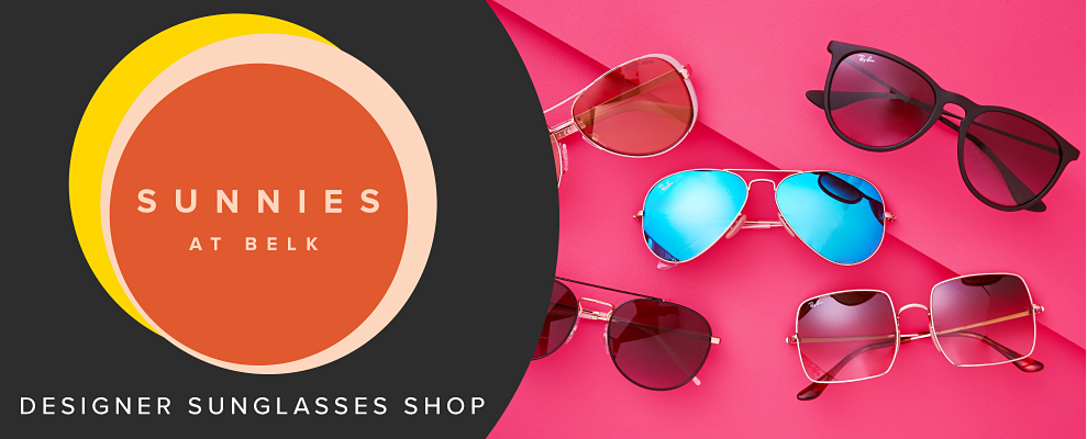 An assortment of designer sunglasses in various styles on a hot pink background. Sunnies at Belk. Designer sunglasses shop.