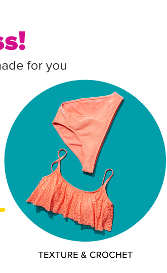Hey, sun goddess. Swim trend and fit solutions made for you A coral colored bikini top with frills and matching bottoms. Shop texture and crochet.
