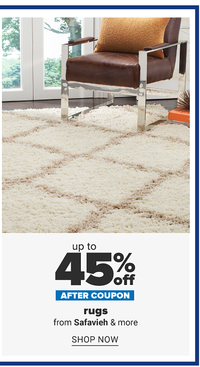 45% off area rugs.