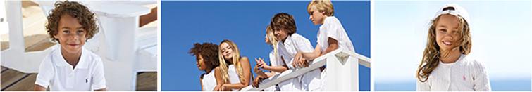 A boy wearing a Polo Ralph Lauren polo, a group of 5 kids wearing Polo Ralph Lauren kids' apparel, and a girl wearing a Polo Ralph Lauren top