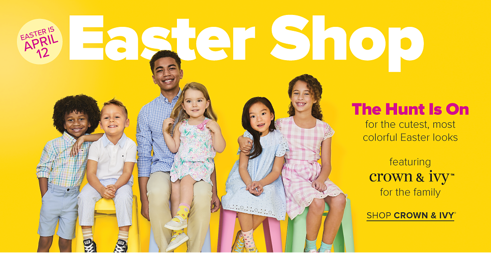 An assortment of boys and girls in a variety of brightly colored Easter dresswear Easter shop. The hunt is on for the cutest, most colorful Easter looks. Featuring Crown and Ivy for the family. Shop Crown and Ivy.