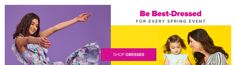 A woman in a purple dress with pink, lavender and green floral designs and ruffles. A little girl in an aqua dress and gold flats. A woman in a white, black, pink and green striped wrap dress. Be best-dressed for every spring event. Shop dresses