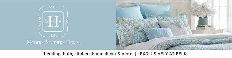 A bed made with a multi colored paisley print comforter & matching pillows. Modern Southern Home. Bedding, bath, kitchen, home decor & more. Exclusively at Belk.