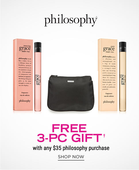 A black makeup bag and 2 sample sized perfumes. philosophy. Free 3 piece gift with any $35 philosophy purchase. Shop now.