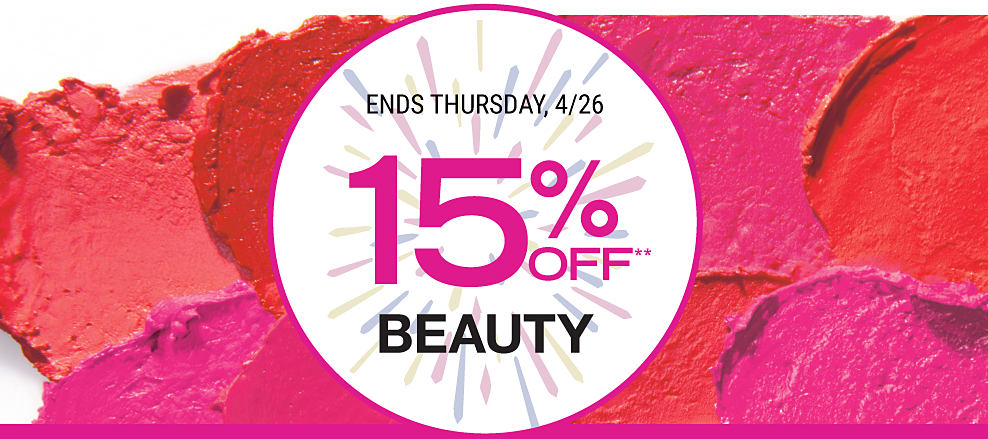 Lipstick smears in a variety of bold red and pink shades. 15% off beauty. Ends Thursday, April 26th.