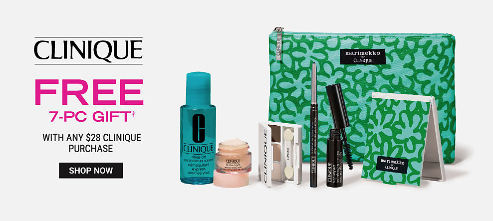 A blue and green makeup bag with a variety of Clinique beauty products. Clinique free 7 piece gift with any $28 Clinique purchase. Shop now.