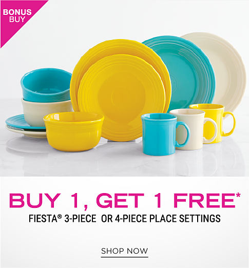 A variety of plates, bowls and coffee mugs in blue, yellow and off white. Bonus buy. Buy 1, get 1 free Fiesta 3 piece or 4 piece place settings. Shop now.