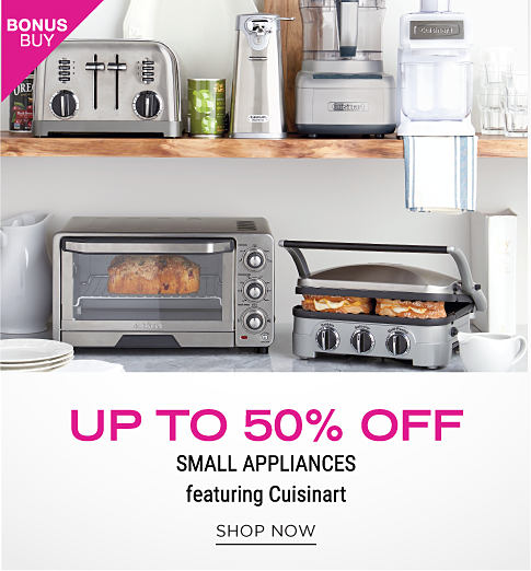 A countertop and shelf with a variety of small kitchen appliances. Up to 50% off small appliances featuring Cuisinart. Shop now.