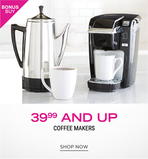 A tea kettle and a Keurig with two white coffee cups. 39.99 and up coffee makers. Shop now.