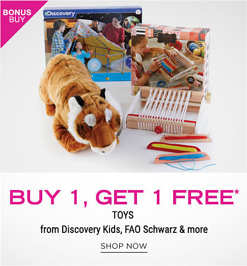 Kids games, activities and a stuffed animal. Bonus buy. Buy 1, get 1 free toys from Discovery Kids, FAO Schwarz and more. Shop now.