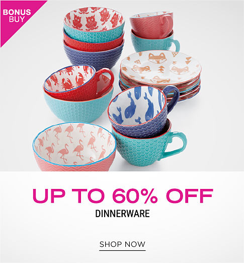 Plates, bowls and coffee mugs in a variety of prints and colors. Bonus buy. Up to 60% off dinnerware. Shop now.