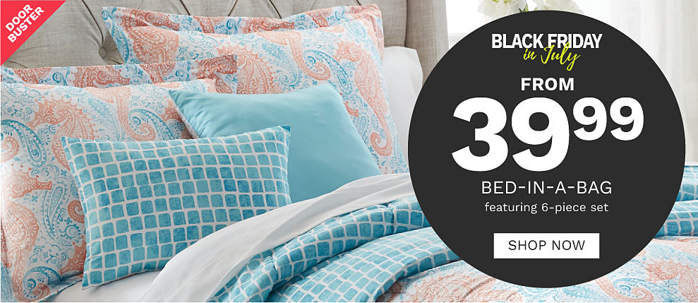 A bed with a turquoise and coral reversible comforter featuring seahorses on the front and a variety of pillows to match. Door buster. Black Friday in July from 39.99 Bed-in-a-Bag featuring 6-piece set. Shop now.