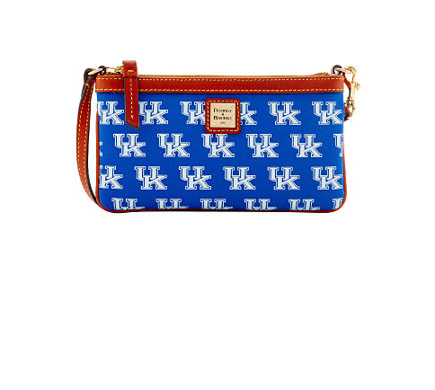 a blue & white University of Kentucky clutch with brown leather strap & trim. Women's Accessories. Shop now.