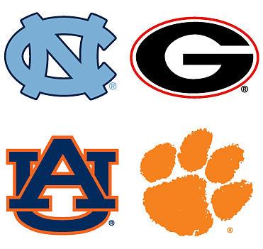 An assortment of collegiate sports team logos. Shop fan gear.