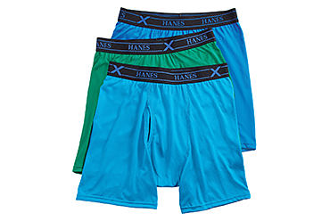 An assortment of Hanes boxer briefs in various colors. Shop underwear.