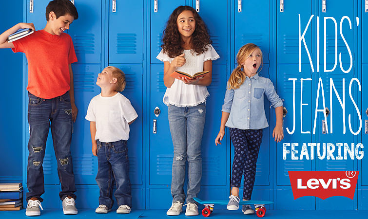 Young students standing in front of lockers wearing Levi's Jeans.