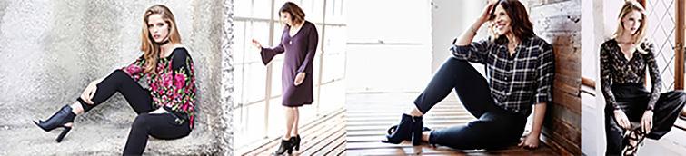 4 women wearing various styles of Karen Kane apparel.