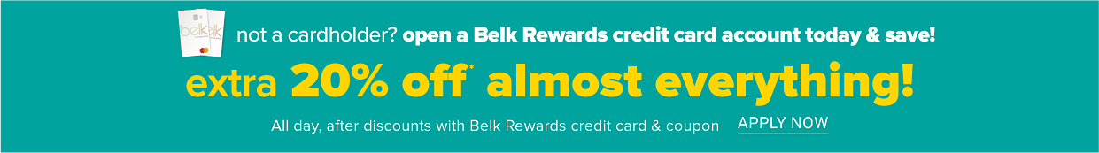 Two Belk Rewards credit cards laying on top of each other.. Not a cardholder? Open a Belk Rewards credit card account today and save. Extra 20% off almost everything all day, after discounts with Belk Rewards credit card and coupon. Plus, stack it on today's coupons and use it on beauty and clearance, too. Apply now.