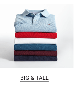 A stack of polos in a variety of colors. Shop big and tall.